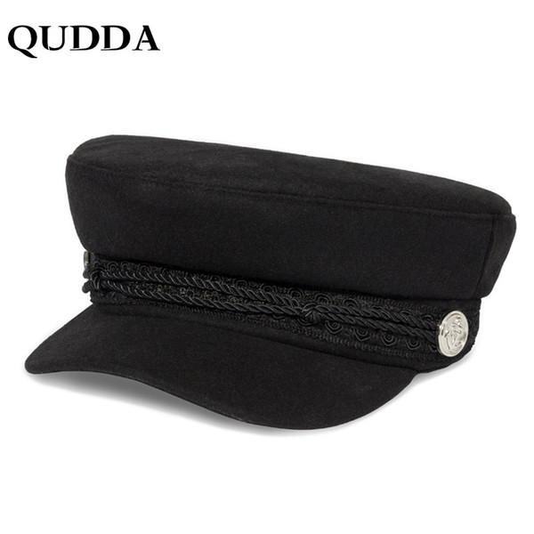 QUDDA Sombreros de Invierno Para Mujeres Hombres Capa Octogonal de Primavera Botones de Lana Sombrero Visera Sombrero Gorras Casquette Touca Negro Casual S18101708