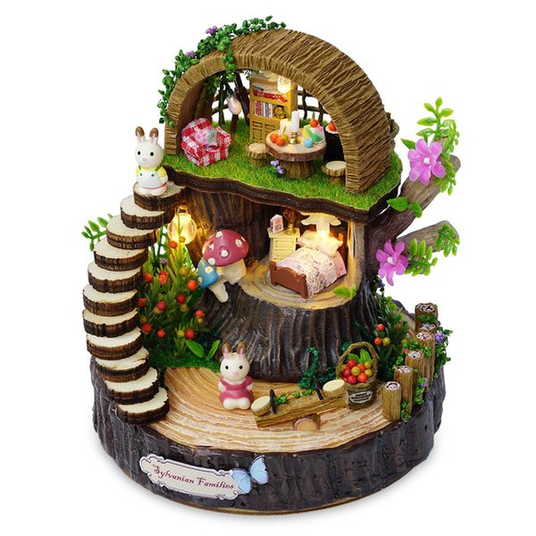 Wooden Miniature Doll House Model Building Kits Toys DIY Dollhouse Fantasy Forest Rotate The Music Movement For Present
