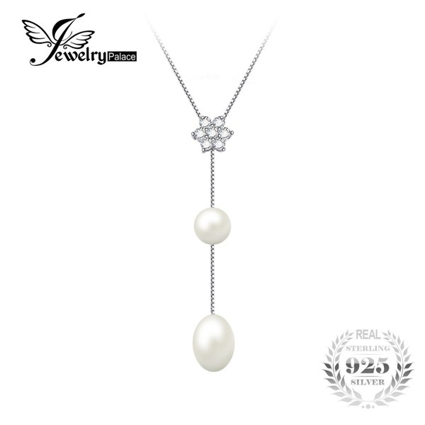 JewelryPalace Flower Round 6.5mm Freshwater Cultured Pearl Box Chain Choker Strand Beads Necklaces For Women 925 Sterling Silver