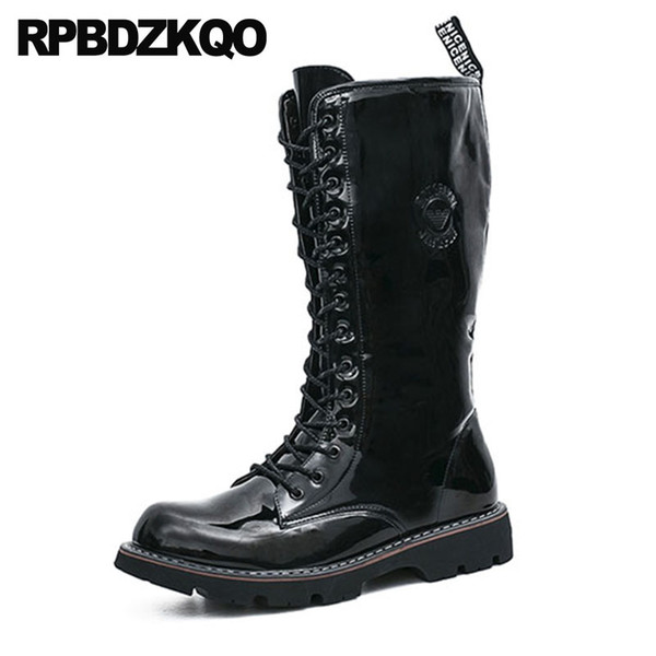 b98f4a74ace Zipper Fashion Black Waterproof Shoes Combat Army Non Slip Plus Size ...