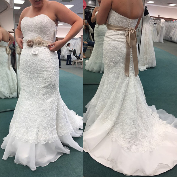 Strapless Original Lace Whole Applique Mermaid Wedding Dress with Champagne Sash Hand Made Flowers Plus Size Bridal Dress In Ship