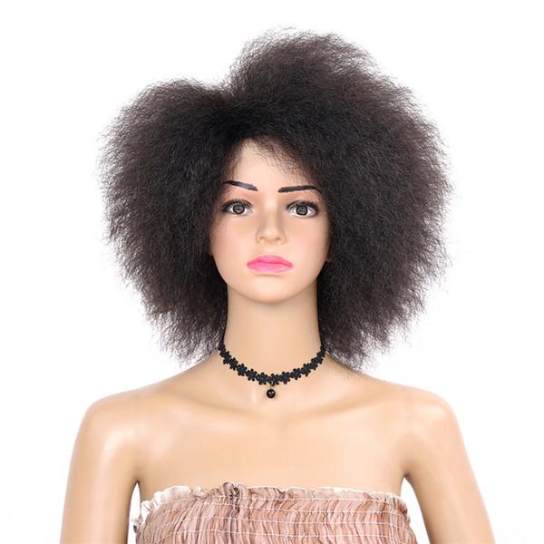 Moda parrucca sintetica afro-americana riccia crespo 6 inch parrucca sintetica nera per donne 90g