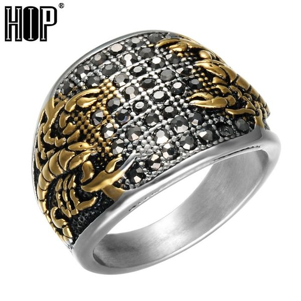 Punk Vintage Black Crystal Scorpion Pattern Mens Ring Gold Color Round Stainless Steel Titanium Rings for Men Jewelry