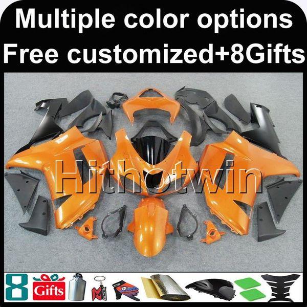 23 colores + 8 regatas naranja negro ZX6R 2007 2008 motocicleta carenado carenado para Kawasaki Ninja zx-6r ZX636 07 08 kit de plástico ABS