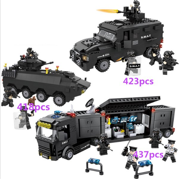 418pcs+ Hsanhe tank Truck Armored Car SWAT Police Command vehicle Series Building Block Brick Educational Toys Children Gifts