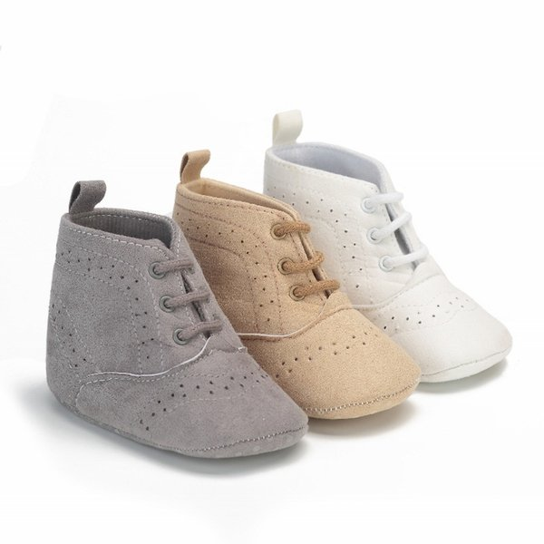New Fashion Baby Boys Girls Sneakers Shoes Crib Footwear Lace Up Solid High Top First Walker Newborn Infant Toddler Prewalkers