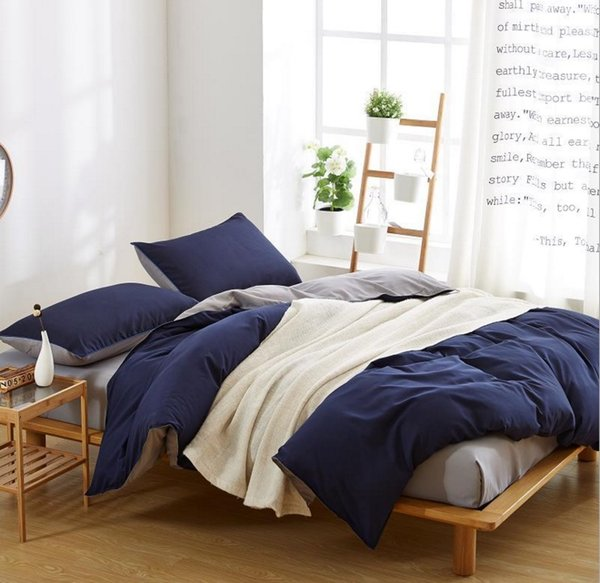 Luxury 4 PCS complete reversible duvet cover and fitted sheet bed set Double Size Navy Blue White