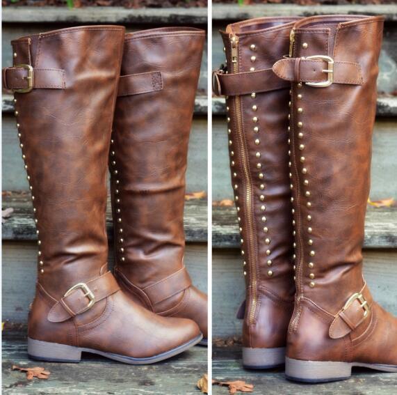 Xing rivets boucle Design moto bottes dames équitation punk plat talons carrés long cuir pu bottes Western zippées chaussures 34-43