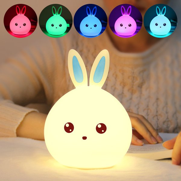 Rabbit Silicone LED Night Light Multicolor Silicone Touch Sensor Tap Control Nightlight USB Rechargeable For Baby Kids Bedside Lamp Toys