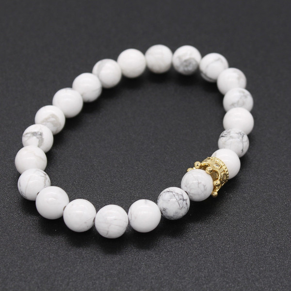 2pcs/set Couple Bracelets for Lovers Crown Queen Charm Stone Beads Bracelets for Women and Men Jewellery Gift