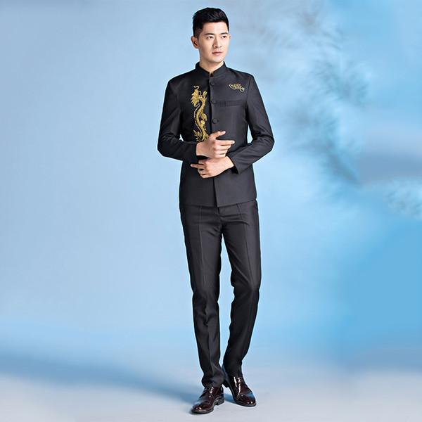 Schwarz Weiß Traditionellen Chinesischen Tunika Anzug Stehkragen Anzug Crew Filmen Kleidung Firma Chorus Chinese Dragon Kostüm