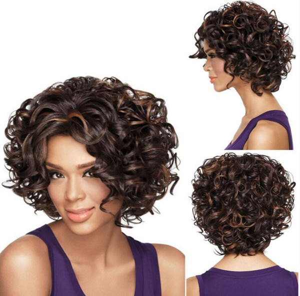 Acheter 2018 Top Qualité Courte Coupe Kinky Curly Wig Simulation Cheveux Humains Pleine Perruques Courte Bob Perruque Pleine Bouclée Avec Frange Pour