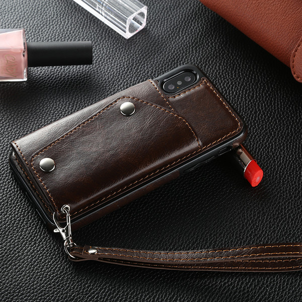 Wholesale Wallet style leather mobile phone case cell phone pouch stand flip with wrist strap for iphone x 8 7 6 6s