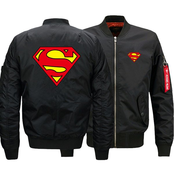 2018 Yeni Boy Superhero Superman Bombacı Ceket erkek Ceketler için Fermuar Uçan Ceket Kış kalınlaşmak Erkekler Mont