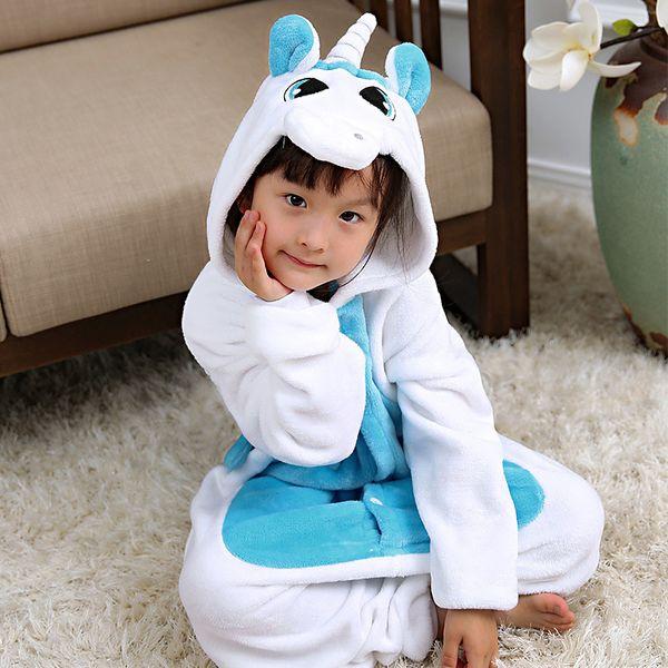 Kigurumi Winter Pajamas For Children Girls Unicorn Cartoon Animal Kids Costume Boys Onesie Sleepwear Jumpsuit 4 6 8 10 12 Years Y18102908