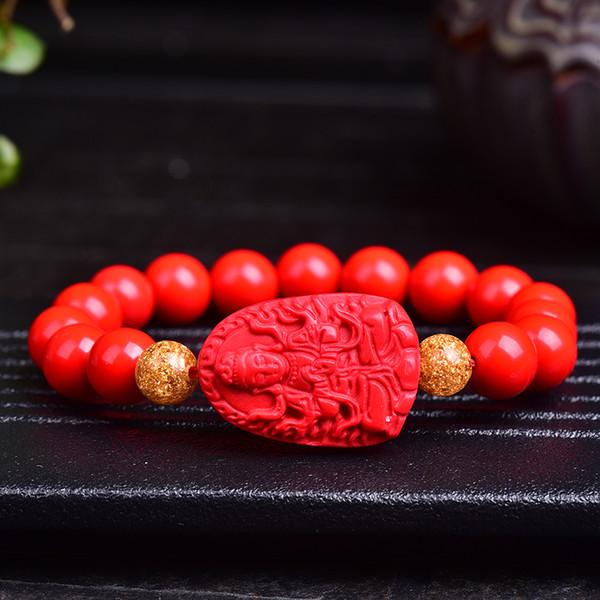 Apertura de Taiwán colgante de cinabrio rojo ocho Dios guardián colgante mano hombres y mujeres pulsera de pareja regalo de Buda natal