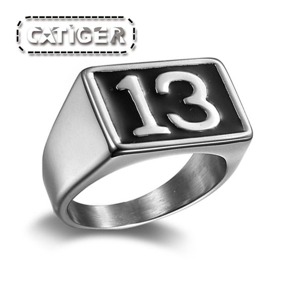 Punk 316L Stainless Steel Silver White and Black color Enamel Number 13 Ring Thirteen Rings R351