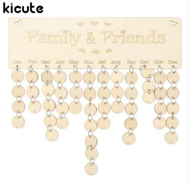 best selling Kicute DIY Wooden Birthday Calendar Board Family Friends Birthday Calendar Sign Special Dates Planner Board Hanging Decor Gift
