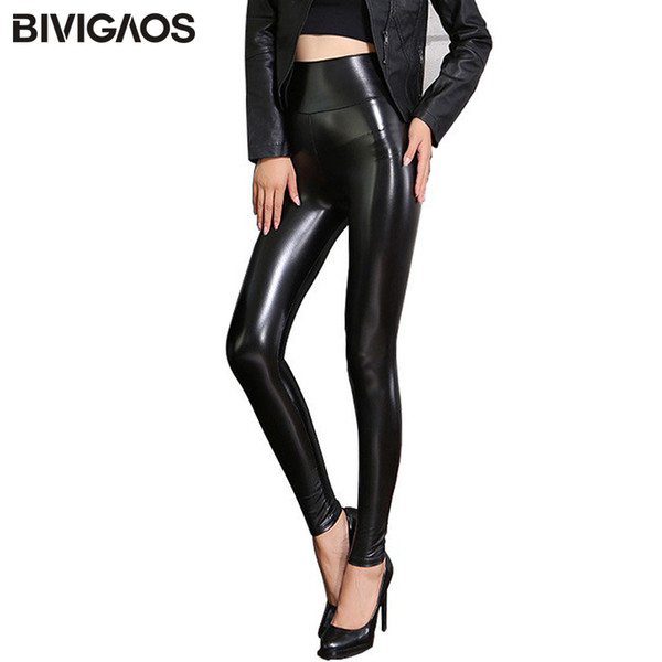 BIVIGAOS Fall Winter Women's Fleece Black Leather Pants Female PU Leggings Slim Skinny High Waist PU Leggings Trousers For Women S18101502