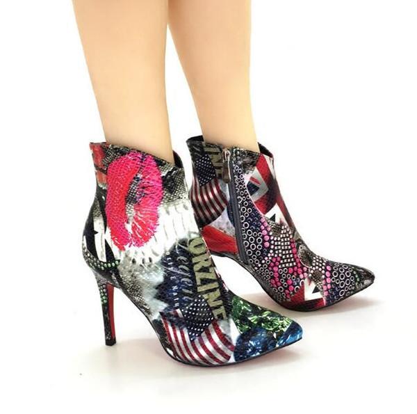 En Libre Pointu Drapeau Chaussures D'hiver Graffiti Cuir Bottes De Acheter Cheville Européenne Femmes Serpent Bout D'hiver Imprimer Vogue Navire Mode BoexrCdW