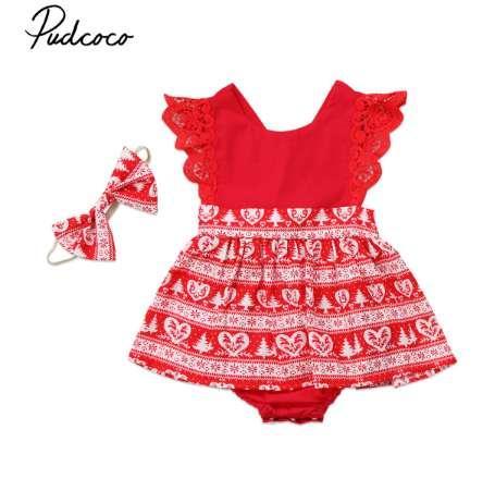 Noel Bebek Kız Romper Elbiseler Çocuklar Kırmızı Sarı Noel Dantel Ruffled Romper Elbise Parti Elbiseler Kafa Kıyafetler Giysileri 0-6Y