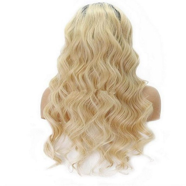 Ombre Two Tone T1B 613 Blonde wavy Lace Human Hair Wigs Brazilian Virgin Hair 130 Density Bleached Knots Lace Front Wigs