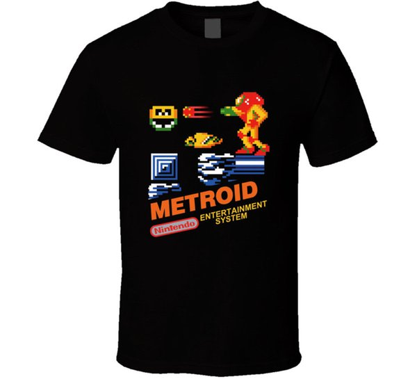 Metroid Nes Box Art Video Game T Shirt Tee Retro Vintage Gamers Gift Loose Cotton T-shirt For Men Cool Tops T Shirts