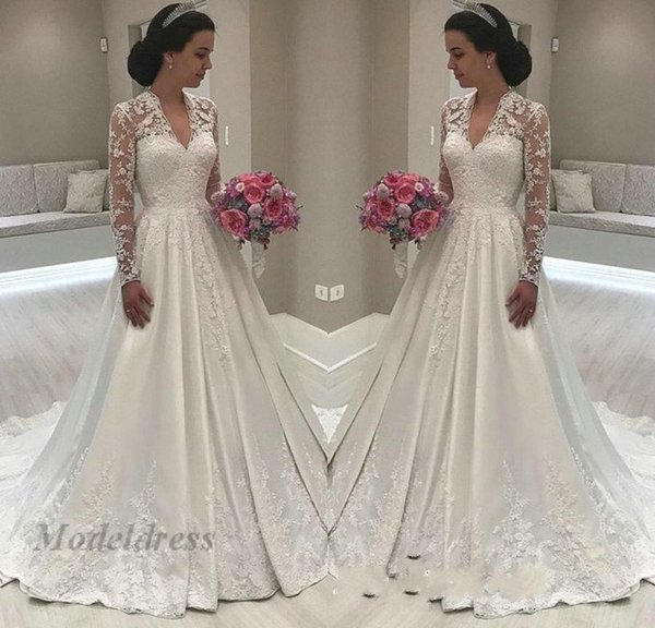 Ivory Illusion Long Sleeve Wedding Dresses A Line Satin Fabric Lace Appliques V-Neck Stunning Ruched Floor Length Modest Bridal Gowns Custom