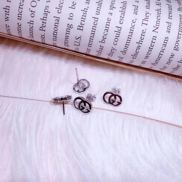 Authentique Boucle d'oreille en argent Sterling 925 Logo logo mots creux dans le logo de la marque Boucles d'oreilles pour femmes Bijoux compatibles PS6794