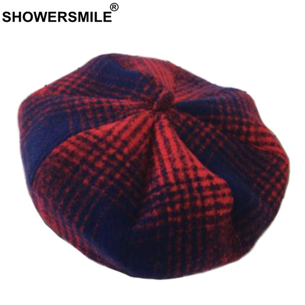 SHOWERSMILE Plaid French Beret Hat Women Tweed Classic Wool Painters Cap Male Checkered Octagonal Hat British Vintage Artist Cap