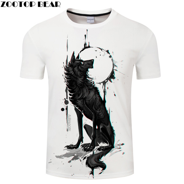 Lobo preto 3D Impressão T-shirt Animal Camisetas O-pescoço Verão T-shirt Tops Plus Size Camisetas Drop Ship