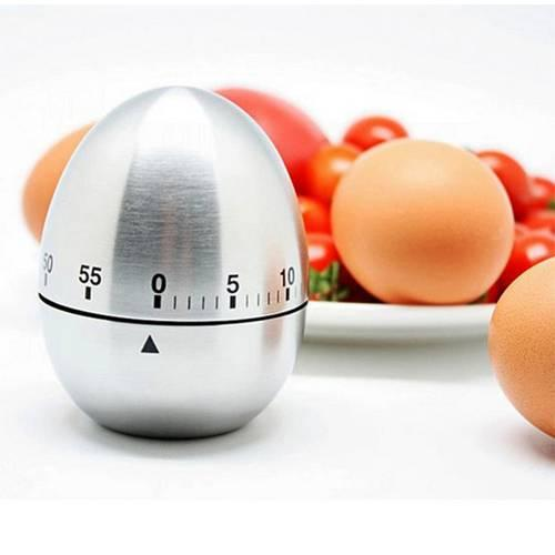 Stainless Steel Egg Shaped Mechanical Kitchen Dial Timer Game Count-down Up Clock Alarm Reminder Cooking Tools Wholesale