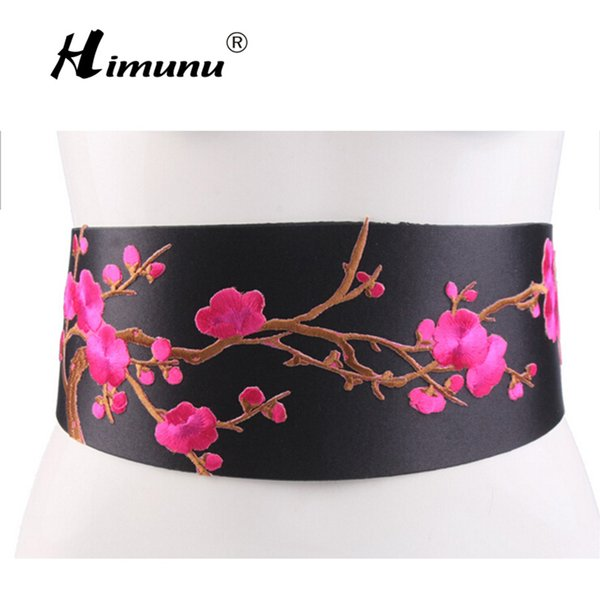 [Himunu] vento cinese ricamato fiori cintura larga nodo moda abito femminile cintura cintura stile folk rosso verde rosa giallo bianco