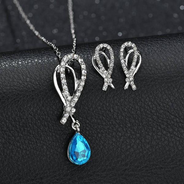 Conjunto de joyas de cristal collar de gota de agua y pendientes conjuntos de dos piezas