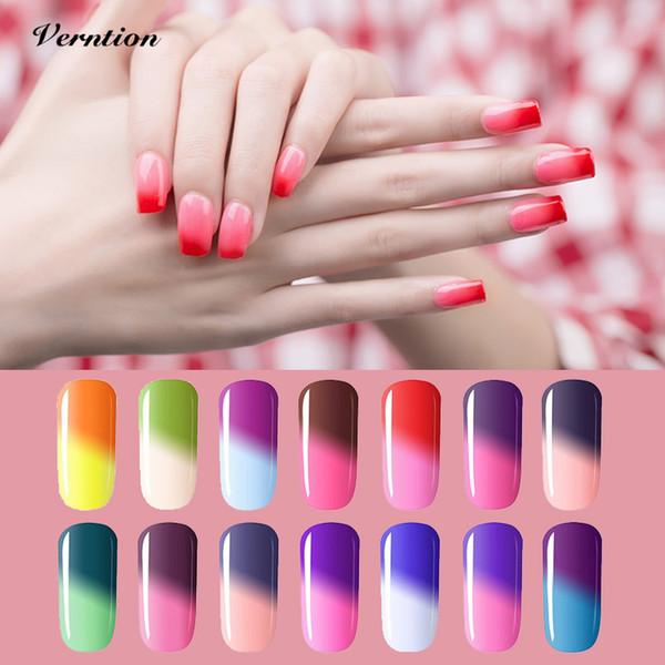 Verntion Temperature Changing Color Gel Nail Polish Varnish Nail Art Soak Off Thermo Mood Color UV LED Chameleon Gel Polish