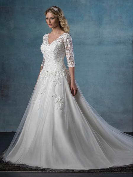 Beauty White V-Neck Half Sleeves Applique Princess Wedding Dresses Bridal Pageant Dresses Wedding Attire Dresses Custom Size 2-16 KF913111