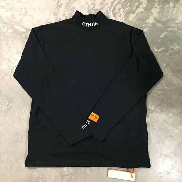 Best Quality Heron Preston Men Women Turtleneck Collar Embroidery T shirt Pullover Hip hop Fashion Long Sleeve Cotton Tee