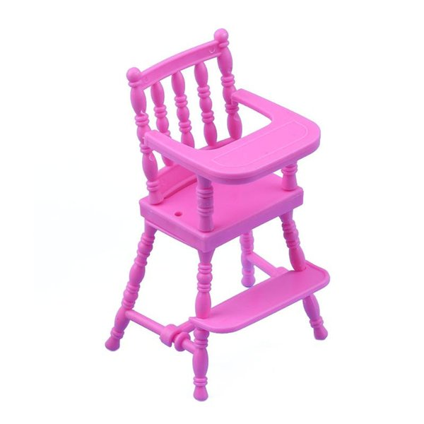 Children Pink Nursery Baby High Chair for Doll's House Baby Girls Doll House Furniture Girls Doll Accessories Toy
