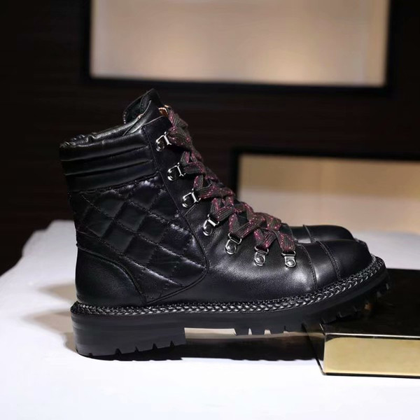 Brand Name Army Womens Ankle Winter England Style Short Knight Martin Boots Shoes Real Leather Footwear Size 35-40