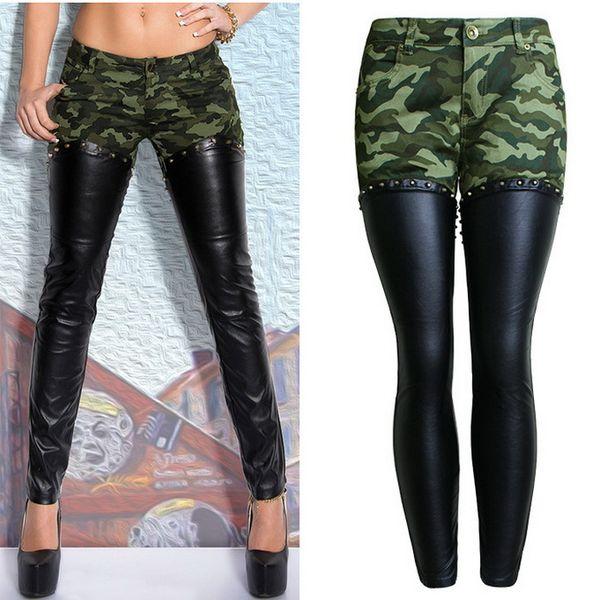 8eabbe725cc Women Camouflage Denim Splice PU Leather Pants Ladies Rivet Patch Slim Fit  Zip Leg Fashion Trousers