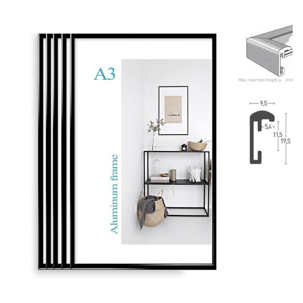 Classic super narrow aluminum A3 poster frame 5pcs/set plus vintage patent art prints wall frame/metal frame/certificate frame