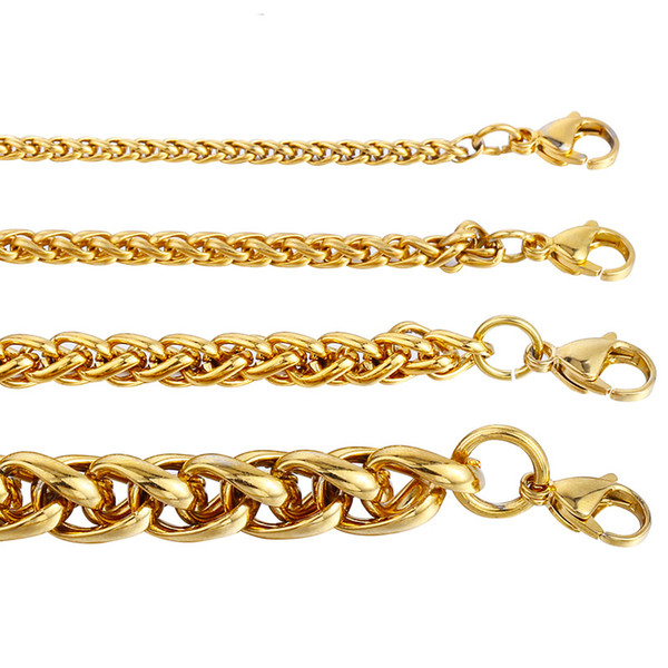 Choker Chains 18K Real Gold Plated Necklace 3MM Fashion Jewelry For Men Male Party Gift Rock Rapper Charming Cuban Link Chain Free Shipping