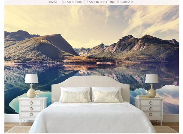 Wholesale-Customized photo wall mural wallpaper Fresh and simple artistic conception beautiful landscape lake mural TV background wall decor
