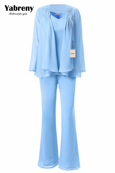 wholesale 3PC Mother of the Bride Chiffon Pants suit Sky Blue MT001703-1