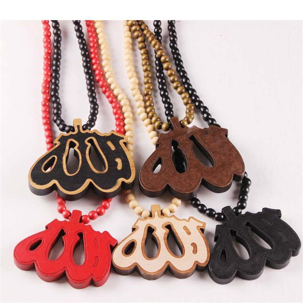 Wholesales 5 Colors Wood Pendant Hip Hop Jewelry Designer Jewelry Sliver Choker Beads Mens Necklace Mens Chain Healing Necklace