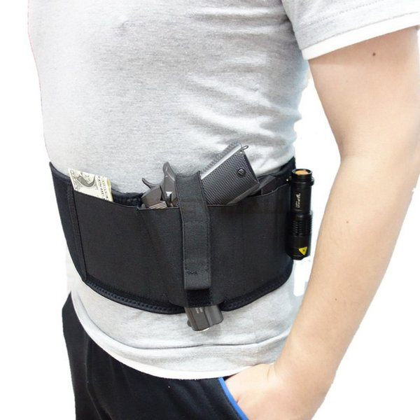 Belly Band Holster Multifunction Adjustable Tactical Gear Concealed Carry Holsters Pistol Gun Holster ,With Double Magazine Pouches