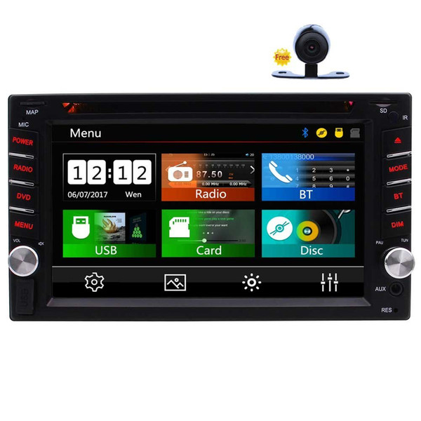 """Double Din Car Stereo In-Dash FM RDS Radio 6.2"""" Car DVD Player Bluetooth Steering Wheel Control USB/TF Subwoofer AUX 1080P Video+camera"""