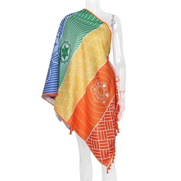 Bohemia Style Bath Towel India Mandala Blanket 7 Chakra Rainbow Yoga Mat Stripes Tapestry For Lady Gifts 17sj ff