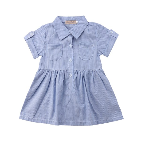 Pudcoco 2018 Brand New Kids Baby Girl Striped Dresses Baby Blue Short Sleeves Cloth Party Travel Holiday Dress