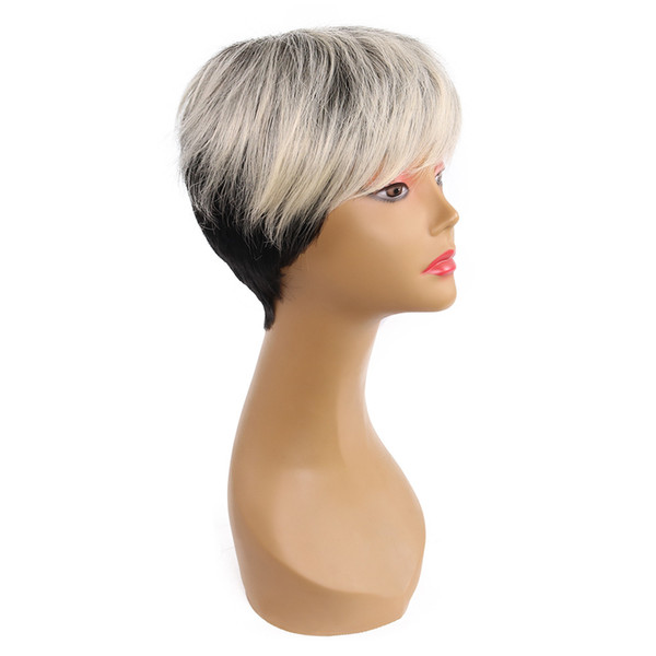 """Women Fashion 10"""" Short Straight Wigs Synthetic Heat Resistant Hair Mix Color Black-White Wigs with Nature Hairline Baby Hair"""